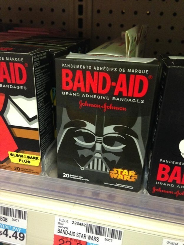 13. And of course there are Star Wars Band-Aids, for when you are wounded but also gotta get that promo: