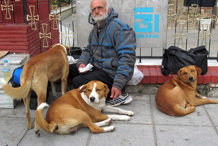 #30 Homeless With 3 Of His 4 Dogs Shares Whatever Food He Has With Them