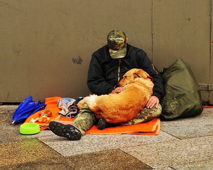 #15 Homeless Man Taking Care Of His Sleeping Dog