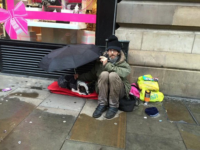 #5 Dog Sleeps Under His Homeless Owner's Umbrella