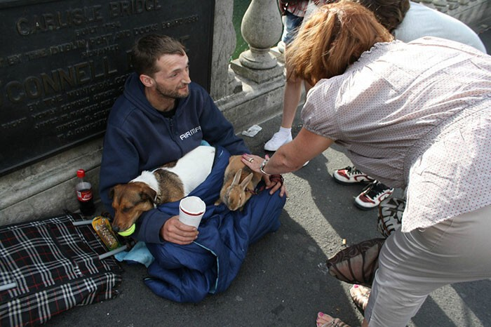 #13 Homeless Man With His Dog And Rabbit