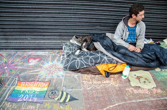 #45 Homeless Man And His Dog During The Brighton Pride Parade, Uk