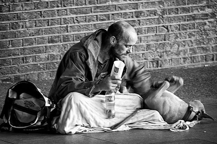 #32 Homeless Man Playing With His Dog