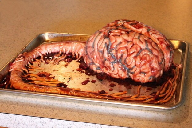 "She makes totally edible cakes that take on very unique forms, like this ""brain"" with the stem attached"