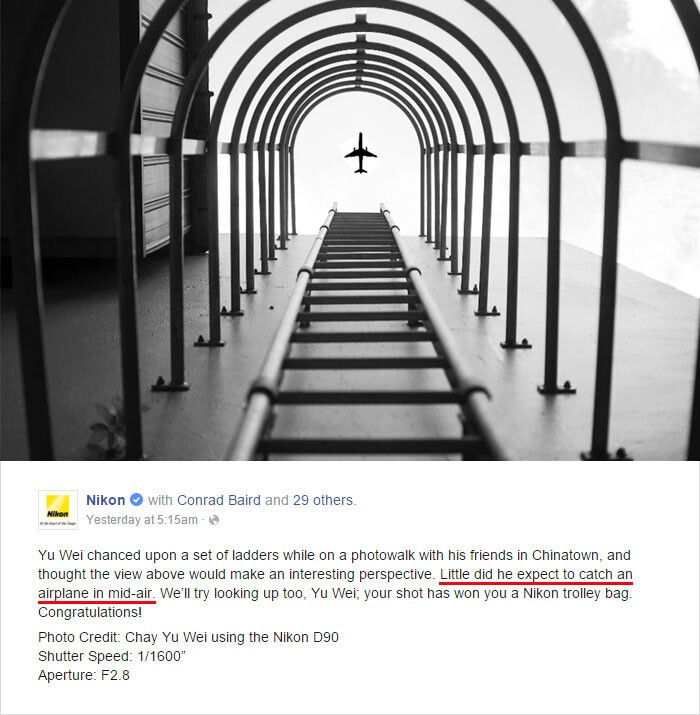 "Nikon awarded a prize to Chay Yu Wei  for managing to ""catch an airplane in mid-air"""