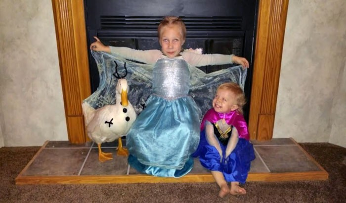 Snowflake has even gone trick-or-treating as Olaf, the snowman from Frozen!