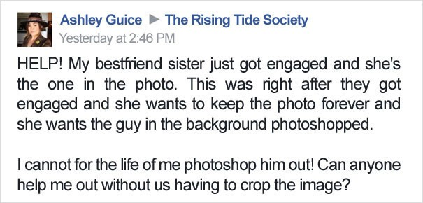 Couple Asks Internet To Photoshop Out Shirtless Guy From Engagement Photo, Regrets It Immediately