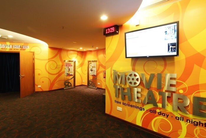There are two movie theaters that screen the latest blockbusters free of charge