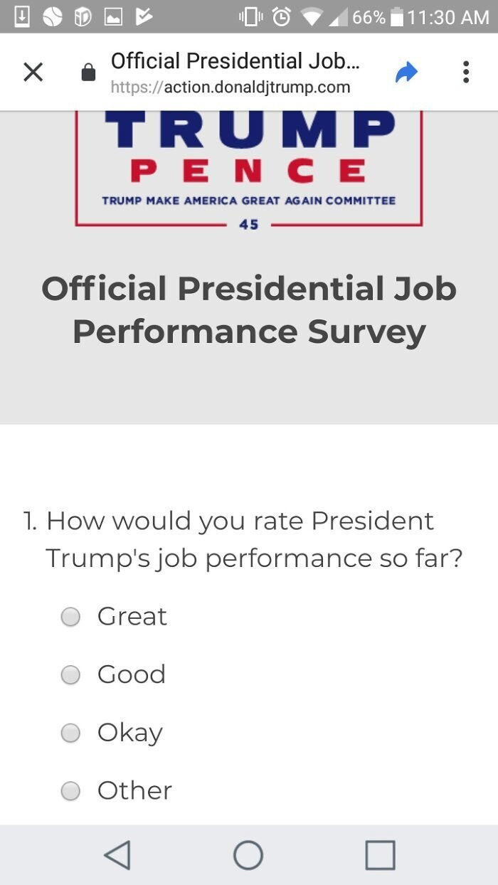 #4 Trump's Official Survey Doesn't Include Any Negative Response Options