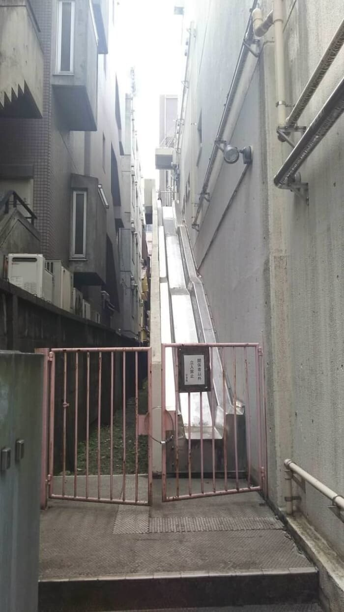17. Fire escapes are slides instead of stairs.