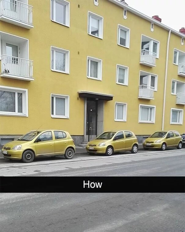 #17 Three Cars Of The Same Make, Model, And Ugly Color Parked In Front Of A Building With The Same Ugly Color
