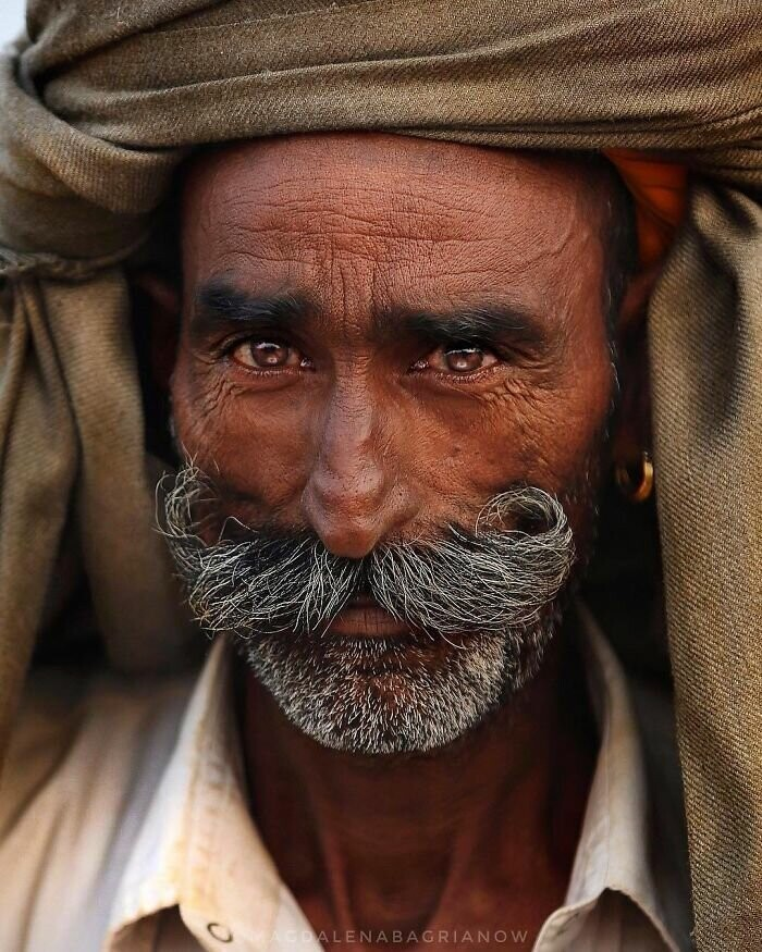 Portrait of a Rajasthani camel trader, taken during annual Pushkar Fair