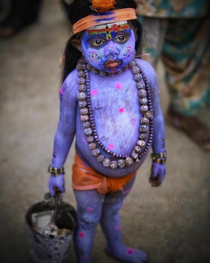 Portrait of a little Rajasthani boy, dressed as a Hindu God Lord Shiva.