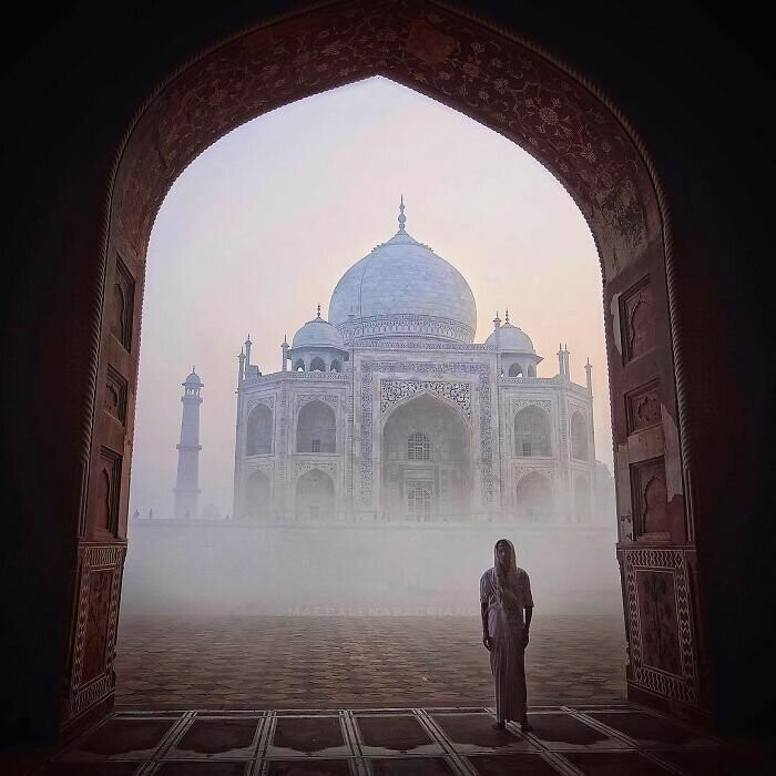 Taj Mahal on the foggy morning