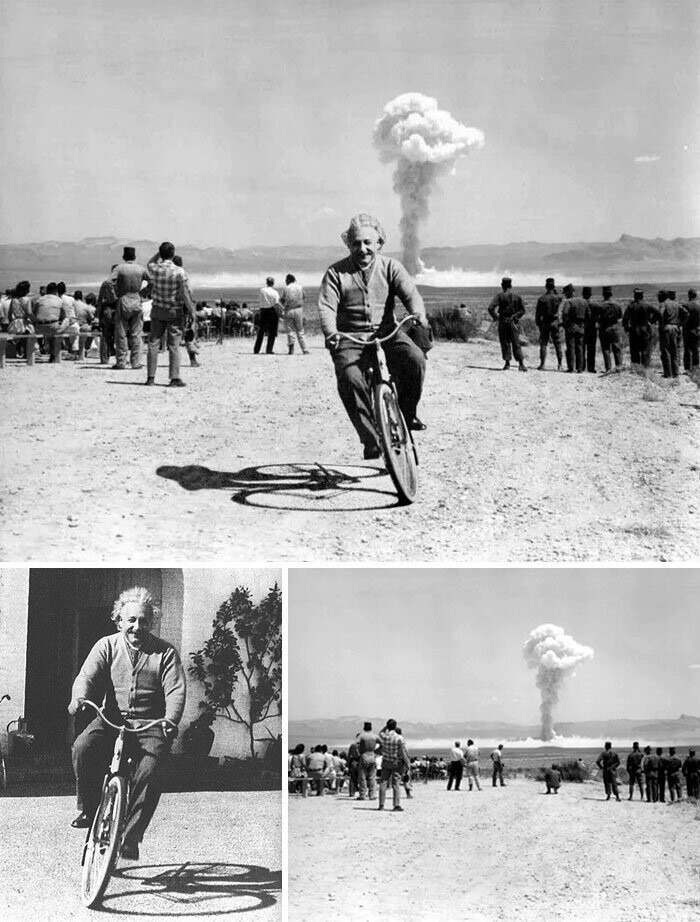 #28 Einstein Riding A Bicycle As A-Bomb Explodes