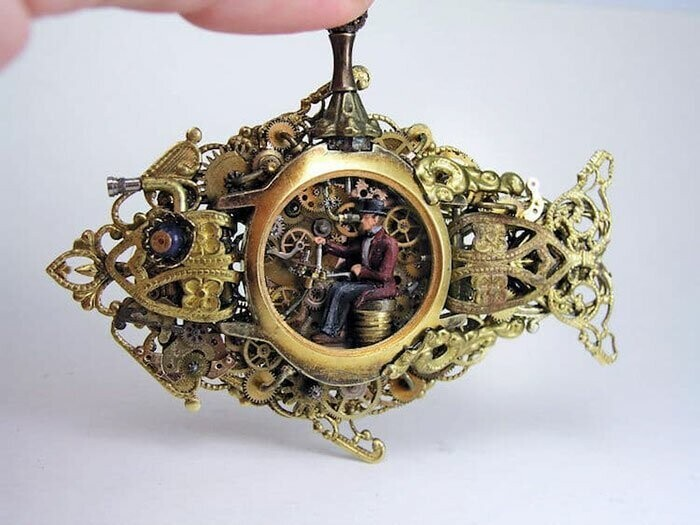 This Artist Turns Old Pocket Watches Into Miniature Worlds