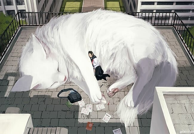 Japanese Illustrator Imagines A World Where Humans Live Among Giant Animals