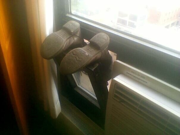 #9 My Friend's Way Of Drying Shoes Scared Me A Bit. I Thought She Was Hanging Out Her 11th Floor Window