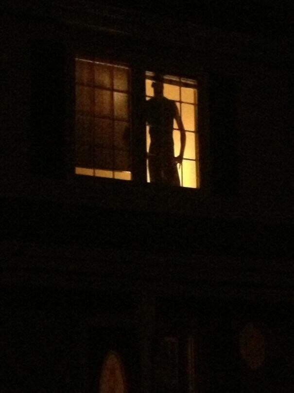 #15 Every Time I Come Home Late My Neighbor's Burglar-Proofing Cardboard Cutout Gives Me A Minor Heart Attack