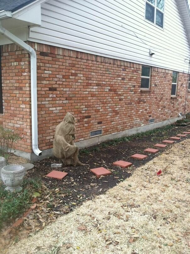 #10 This Was On The Side Of My Friends House, Scared The Crap Out Of Me