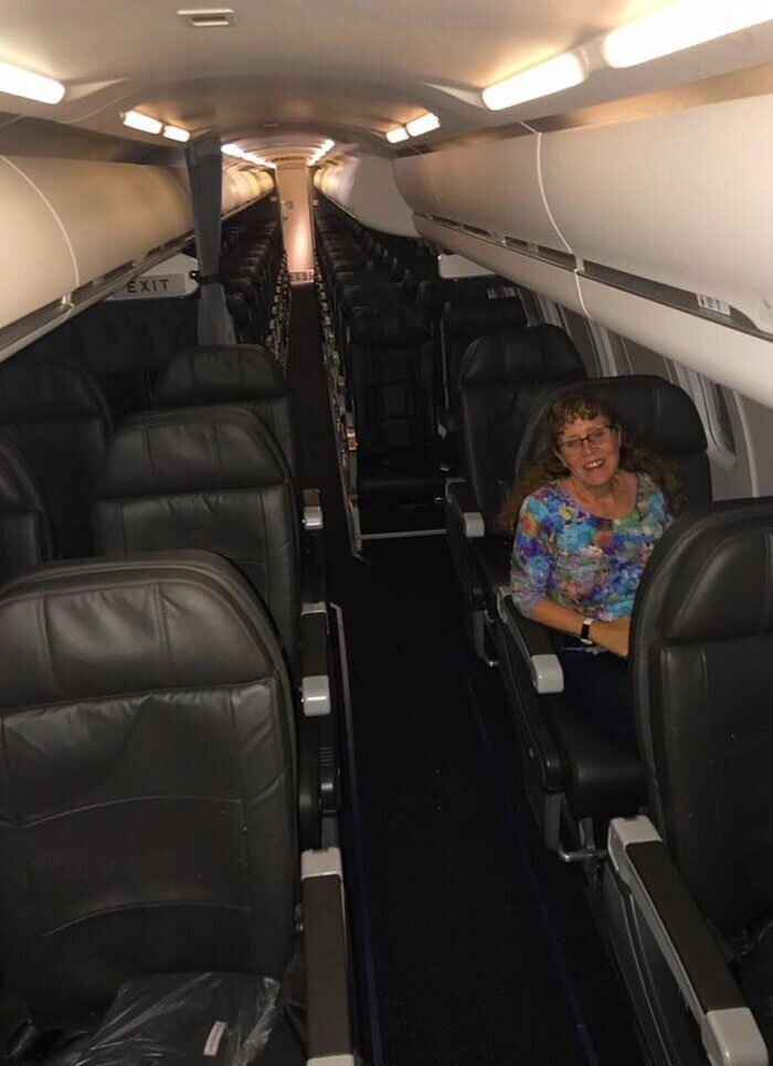 She was the only one left waiting for the scheduled flight after a 7-hour delay