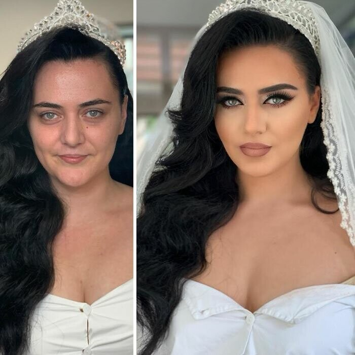23 Photos Taken Before And After Brides Got Their Wedding Makeup