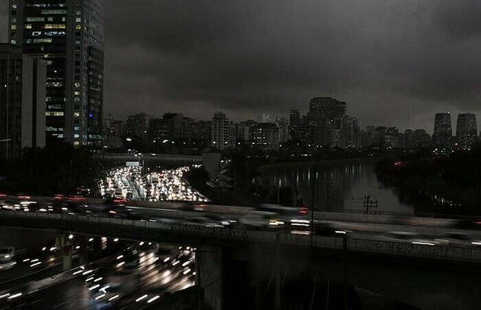 On Monday, Brazil's busiest city has been completely covered by thick dark clouds