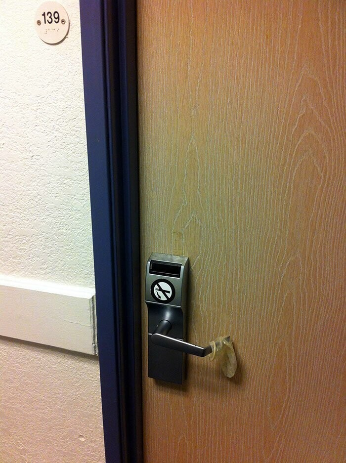 #16 Is This The New Hotel Do No Disturb Sign? (Seen At A Motel 6)