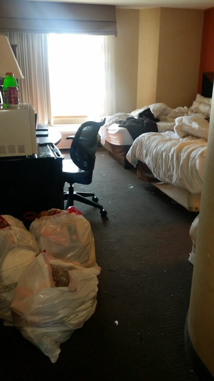 #29 A Guest Left 5 Bags Of Trash Scattered Around Room For A 5 Day Stay. Filthy