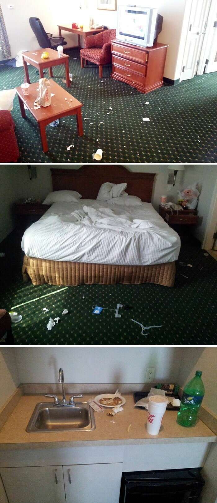 #26 This Is The Room Of A Hotel Guest That Stayed For 3 Days. No Pets, No Kids. Just One Dude With A Mission To Be Disgusting
