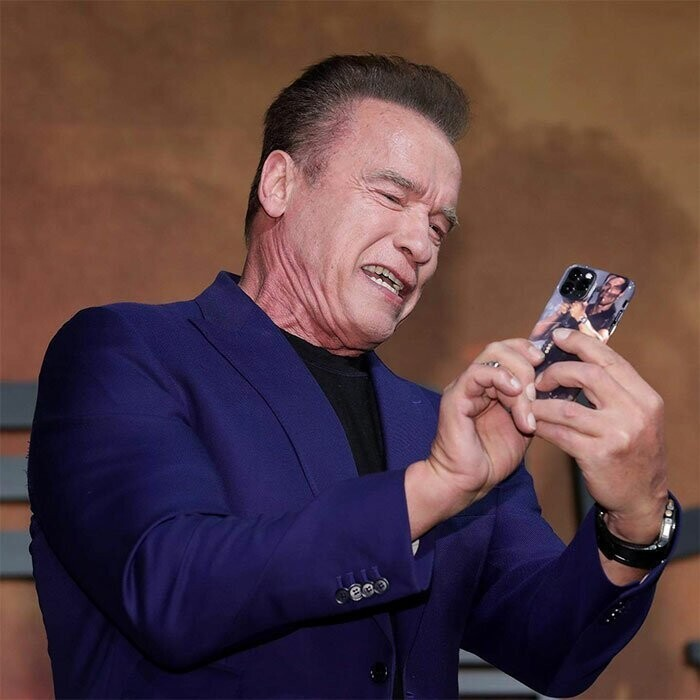 Arnold Schwarzenegger Is Spotted With The Most Fitting iPhone Case