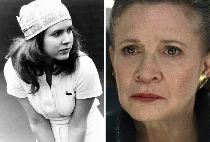 Carrie Fisher: Shampoo (1975) - Star Wars: Episode VII - The Force Awakens (2015)
