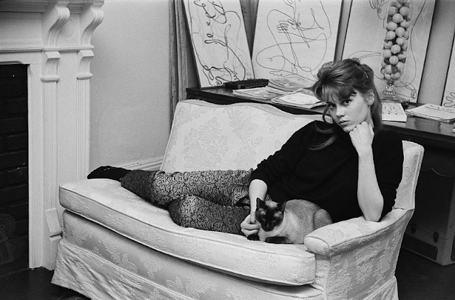 Jane Fonda lying on the sofa with her Siamese cat at her home.