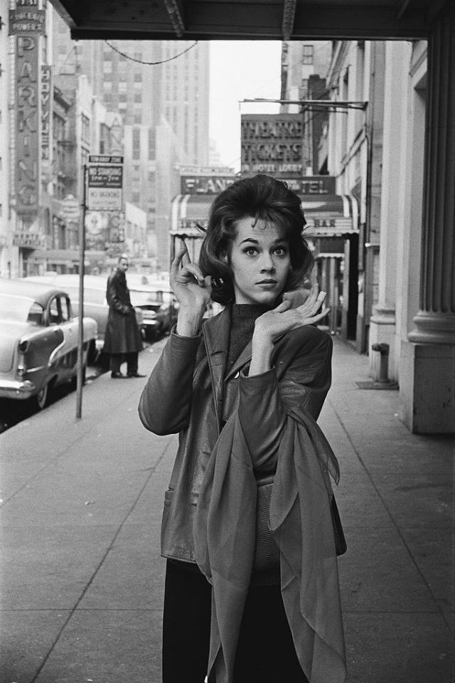 Jane Fonda posing near the entrance to the Cort Theatre.