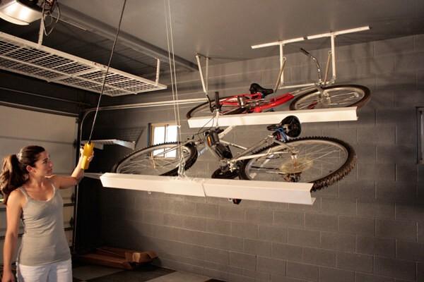 Гараж: 35. Храните велосипеды параллельно потолку