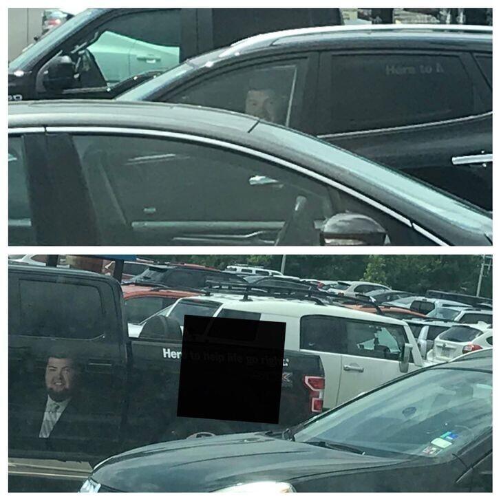 """""""Ехал домой и всю дорогу не мог понять, почему мне так настойчиво улыбается этот мужик из машины рядом . Потом сообразил"""""""