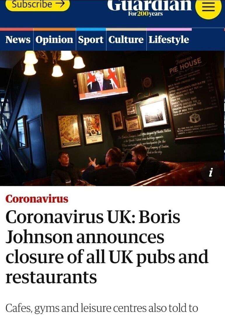 """""""Коронавирус : Борис Джонсон объявил о закрытии всех ресторанов и пивных в Великобритании""""."""