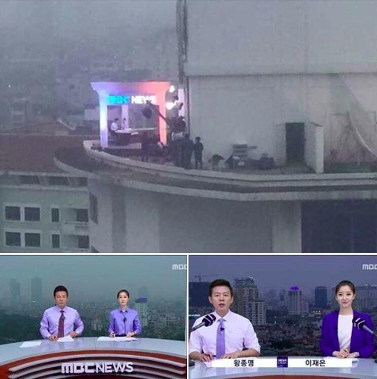 """7. Корейская новостная программа снимается на крыше здания, а не использует технологию """"хромакей"""""""