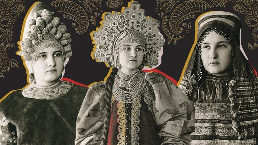 Народные женские костюмы разных губерний Российской Империи