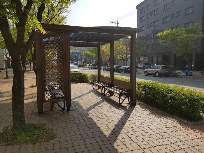 """В городе Ансане каждые полкилометра на тротуаре можно встретить """"островки отдыха"""" для пешеходов"""