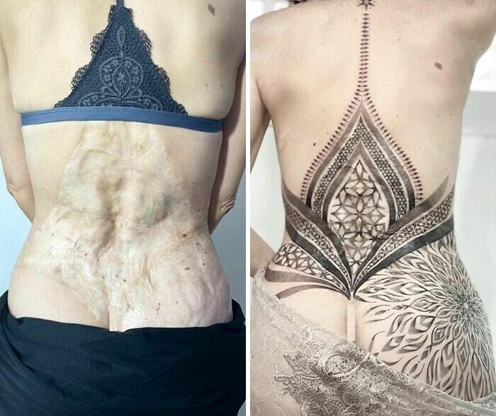 """""""Самая символичная татуировка, которую я делал за все время работы тату-мастером. Перекрытие шрама"""""""
