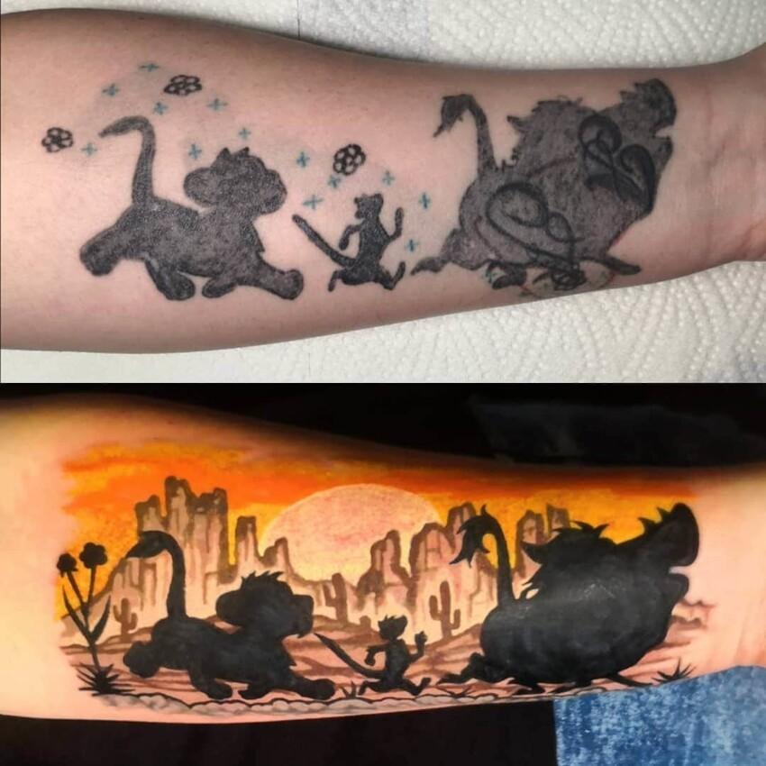 16 примеров того, как мастера дали старым татуировкам новую жизнь