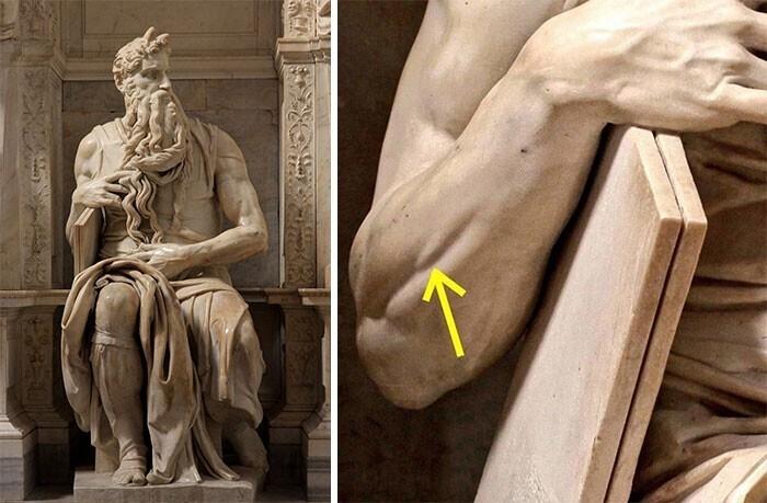 """2. """"Моисей"""" Микеланджело - мраморная скульптура, созданная в 1513–1515 годах"""