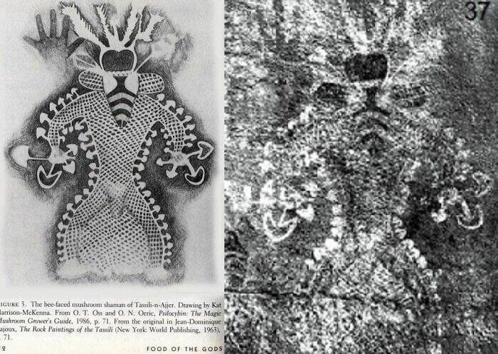 24. Наскальная живопись возрастом 9000 лет в пещере Тассили, Алжир