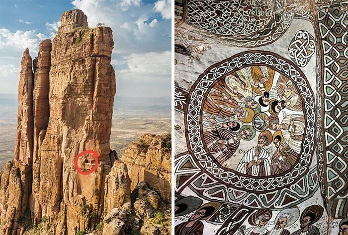 16. Абуна Йемата Гух - это монолитная церковь, расположенная в регионе Тыграй, Эфиопия, на высоте 2580 метров (вход в нее выделен красным кружком)