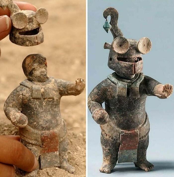 4. Керамическая фигурка майя со съемным шлемом возрастом 1500 лет, из Эль-Перу-Вака, Петен, Гватемала