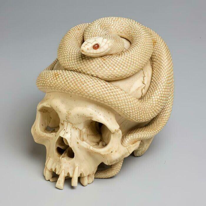 14. Вырезанный из слоновой кости череп и свернувшаяся спиралью змея с сердоликовыми глазами. Япония, период Эдо, 1860 год