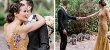 This Couple Was Taking Wedding Photos When A Raccoon Family Decided To Join Them